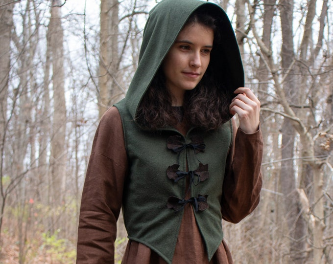 Elven Hoodie, Crop Top, Green Wool, Bodice /F/ (LB)