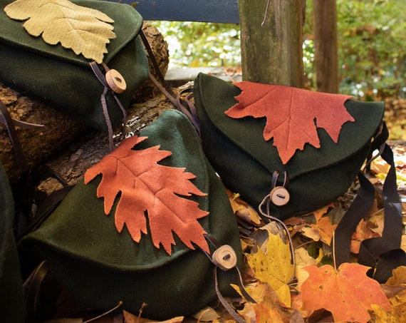 Woodland Fairy Bags, Elven Cross Body Purses - Deep Green Wool W/ Maple & Oak Leaves - Choose Your Bag - /F/ (LB)