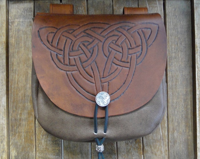 Celtic Knot Leather Pouch, Medieval Renaissance Belt Bag, Tooled - Deluxe