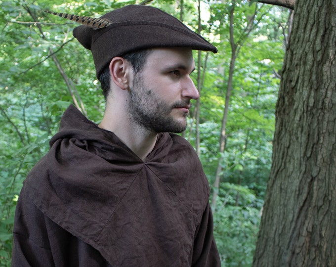 Medieval Robin Hood Hat, Woodsman - Wool 4 Colors Available - /P/ (LB)