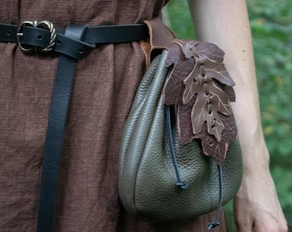 Fairy Leaf Belt Pouch, Leather Bag, Fantasy Festival - Woodland Pouch Oak - /F/ (AB)