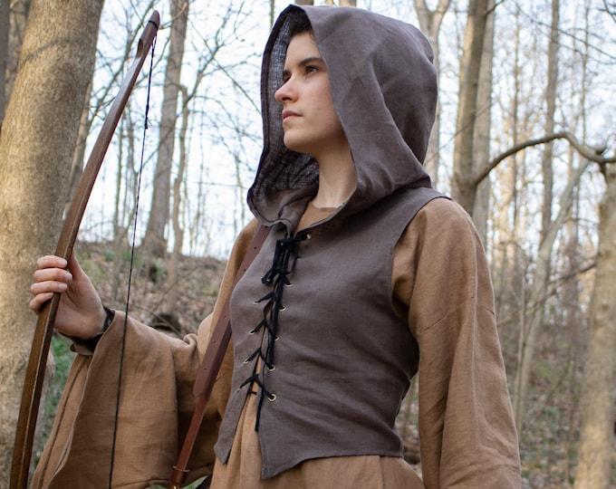 Medieval Vest Hooded Bodice /F/ (LB)
