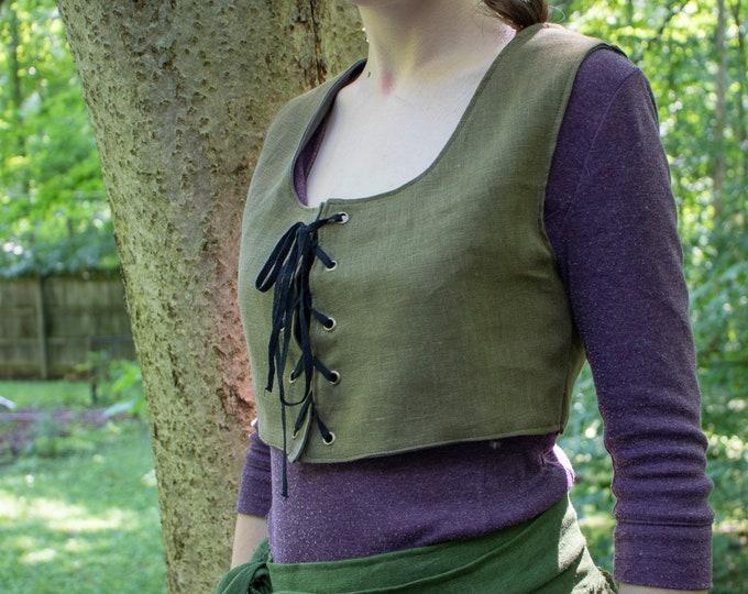 Women's Crop Bodice, Fantasy, Medieval, Renaissance, Olive Linen - /F/ (LB)