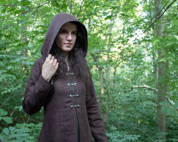 Witchy Fae Elven Clothing, Linen Jacket, Choose Size & Color, Woodland Collection - Rowan - /P/ (LB)