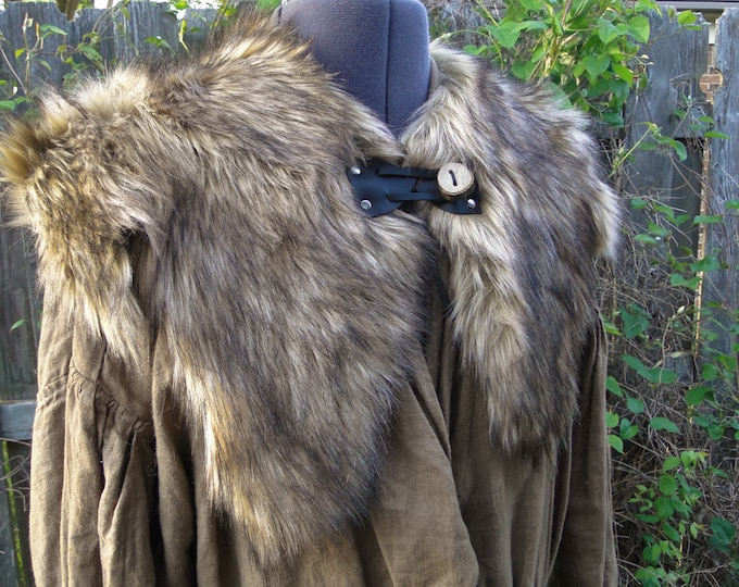 Viking Fur Capelet, Mantle - Medieval, Barbarian, Renaissance - Medium - Faux Fur Choose Color - /P/ (AB)