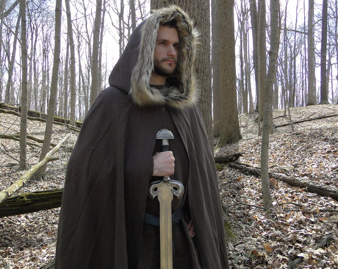 Medieval Fur Trimmed Cloak, Viking Cape, Hooded - Choose Your Linen & Faux Fur Color - /P/ (LB)
