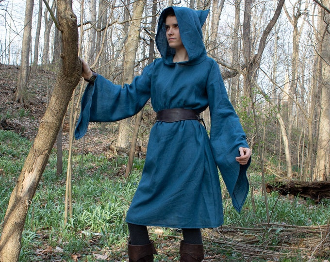 Hooded Elven Linen Tunic, Bell Sleeve Top, Woodland Elf Medieval Fantasy /P/ (LB)