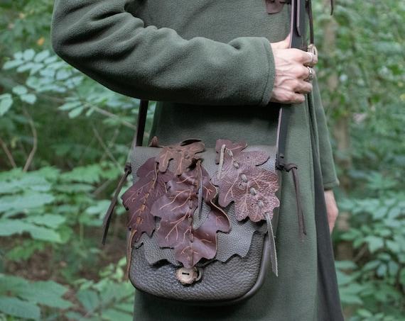 Leather Elven Leaf Bag, Fantasy Style - Woodland Messenger - /P/ (AB)