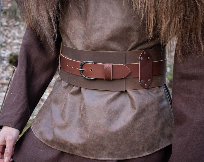 Warrior Wide Kidney Belt, Leather W/ Forged Buckle, Medieval LARP /P/ (AB)