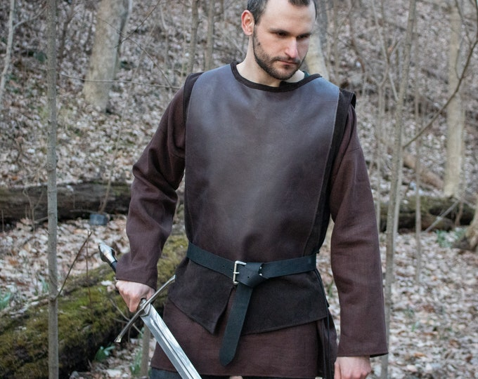 Medieval Jerkin Tunic, Men at Arms Leather L/XL Shirt - /P/ (AB)