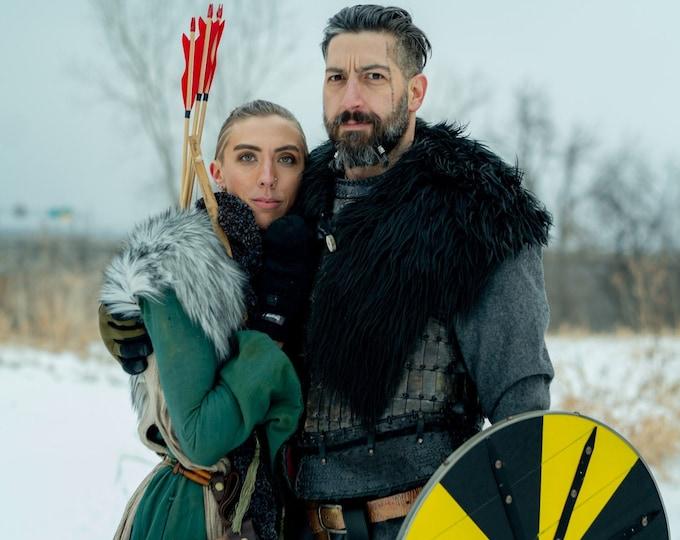 Viking Fur Capelet, Mantle - Medieval, Barbarian, Renaissance - Large Faux Fur Choose Color - /P/ (AB)