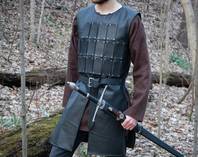 Warrior Leather Tunic, Medieval Armor LARP, Lammellar Brigadine - Mens L/XL Black or Brown /P/ (AB)