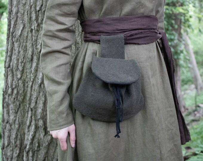 Medieval Wool Belt Bag, Renaissance, SCA - /F/ (LB)