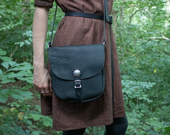 Medieval Leather Cross Body Bag, Renaissance Fair LARP - /P/ (AB)