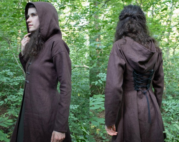 Fairy Elven Jacket, Linen, Choose Size & Color, Woodland Collection - Rowan