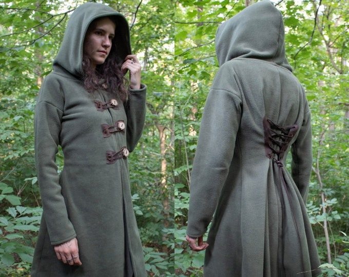 Elven Fantasy Fleece Coat, Hooded, Choose Size & Color, Woodland Collection, Rowan - /P/ (LB)