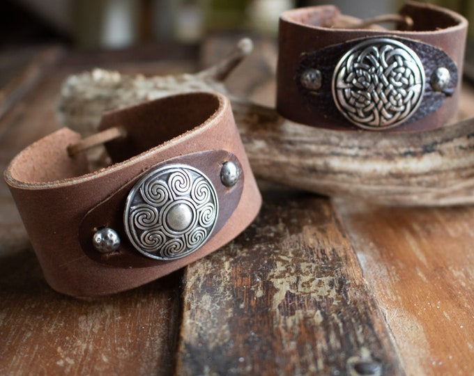 Celtic Leather Cuffs, Wristband Bracelet