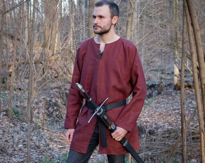 Medieval Tunic Linen with Riding Slit, LARP Ren Fest - Mens Large One Size - /P/ (LB)