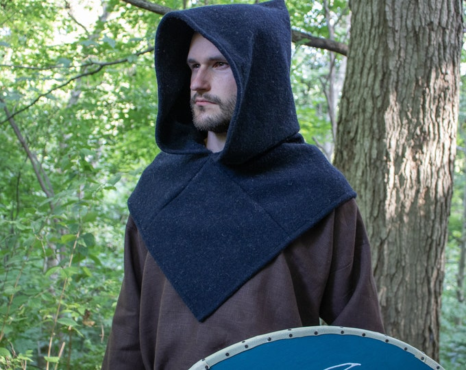 Viking Hood Wool, Skjoldehamn Medieval Garb - Several Colors Available - FC (LB)