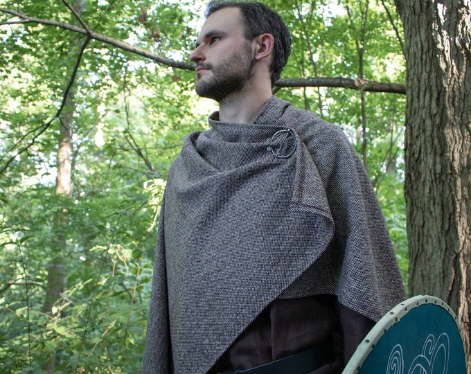 Viking Cloak Cape W/ Brass Penannular Brooch, Wool Choose Your Color