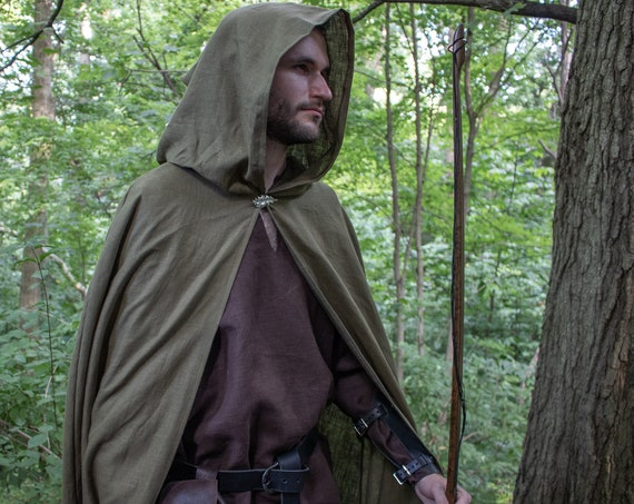 Archer Ranger Cloak, Hooded, Linen, W/ Silver Oak Leaf Pin - ELVEN APPRENTICE - /P/ (LB)