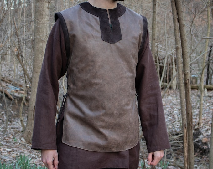 Viking Leather Tunic, Norse Dane L/XL Shirt, Black or Brown - /P/ (AB)