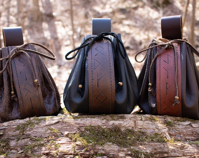 Rune Belt Bags Ready Made - Viking Medieval Pouches /F/ (AB)