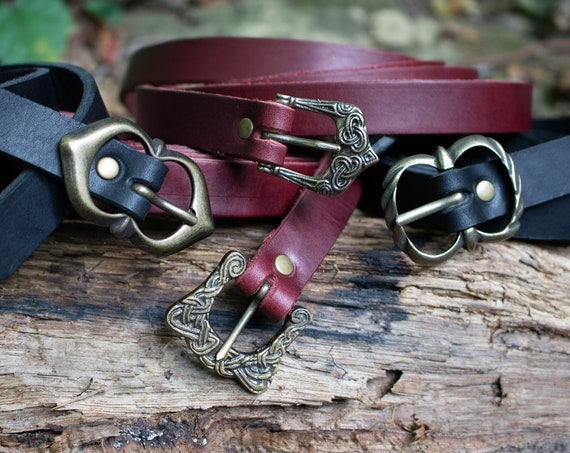 Medieval Leather Belts, Celtic, Viking, Custom Made To Your Size - Choose Your Color - /F/ (AB)