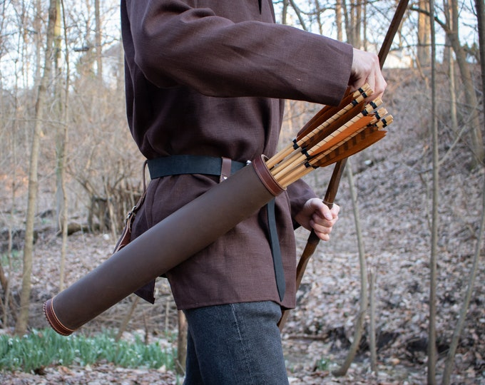 Leather Belt Quiver, Hip Arrow Quiver, Medieval Archery - Black or Brown Leather (AB)