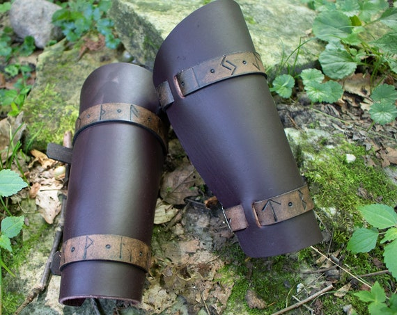 Rune Leather Bracers, Viking Leather Armor, Medieval Cuffs - Rune Bracer - /P/ (AB)