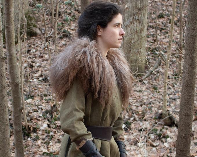 Icelandic Sheepskin Viking Mantle, Fur Collar S/M Brown Mix - /P/ (AB)