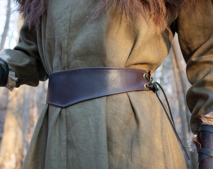 Medieval Women's Belt - Leather Waist Belt, Brown - /F/ (AB)
