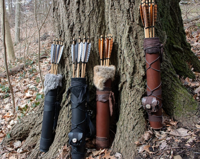 Leather Quiver, Archery Medieval, 3 Point Strap, DELUXE (AB)