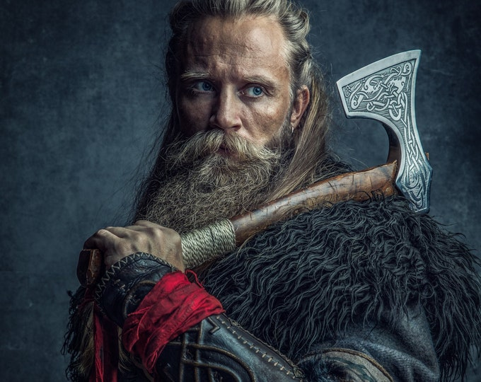 Viking Fur Mantle, Capelet, Medieval, Barbarian - Deluxe Extra Large w/ Celtic Buckle - Faux Fur Choose Color - /P/ (AB)