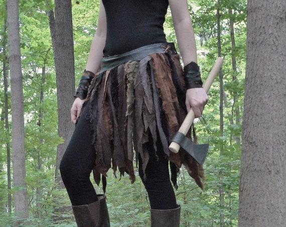 Linen Wrap Skirt, Tribal Fantasy Renaissance Style - Women's Adjustable Fit, Choose Your Size - /P/ (AB)
