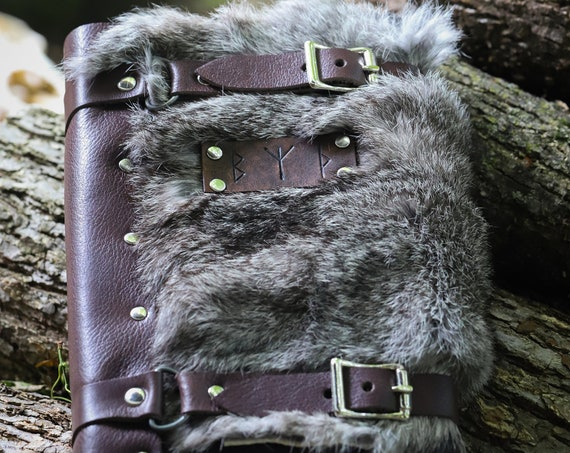 Rune Leather Journals - W/ Fur or Plain -Refillable, Hardback Journal Included - /P/ (AB)