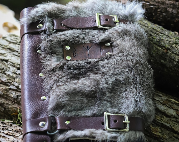 Rune Leather Journals - W/ Fur or Plain -Refillable, Hardback Journal Included - PFL (AB)