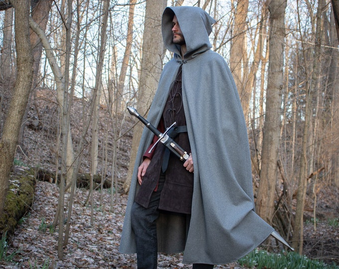 Wool Fellowship Cloak, Medieval Cape Grey /P/ (LB)