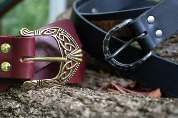 Renaissance Leather Belts, Medieval Viking LARP, Custom Made To Your Size - Choose Your Color - /F/ (AB)