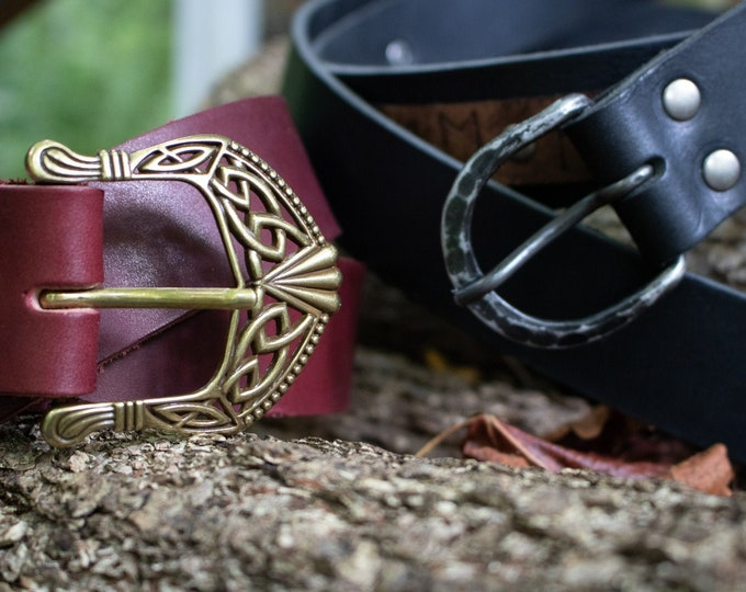 Renaissance Leather Belts, Medieval Viking LARP, Custom Made To Your Size - Choose Your Color - FCS (AB)