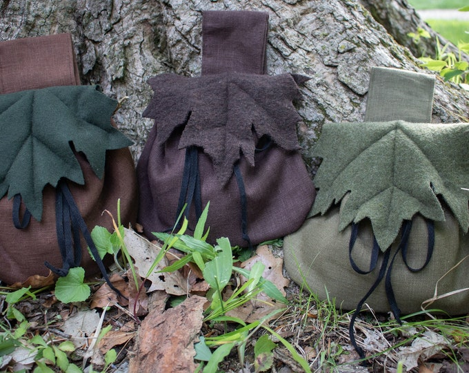 Elven Belt Bag, Woodland Maple Leaf, Wool - /F/ (LB)