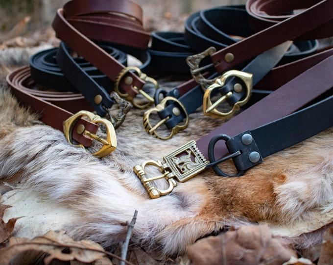 Elven Leather Belts, Celtic, Medieval, Viking, LARP, Custom Made - /F/ (AB)