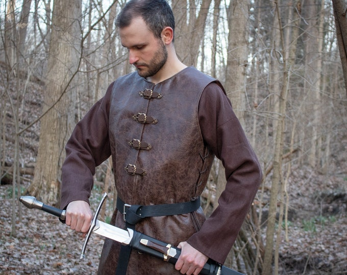 Medieval Leather Tunic, Buckle Style, Renaissance Fair - Mens L/XL Black or Brown /P/ (AB)