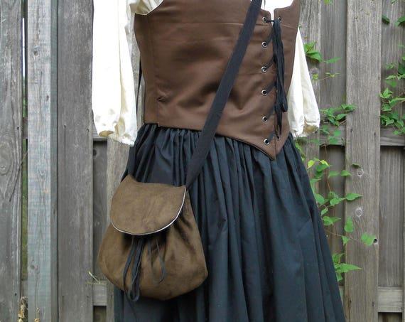 Renaissance Purse, Medieval Bag, Cross Body - Choose Your Color - Faux Suede or Linen Fabric - /F/ (LB)