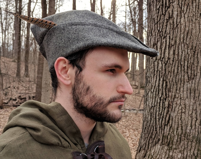 Medieval Robin Hood Hat, Woodsman, Bycocket,  Wool 4 Colors Available - /P/ (LB)