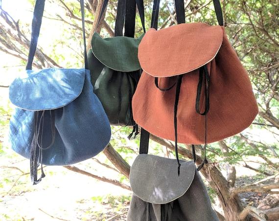 Renaissance Purse, Medieval Linen Bag, Cross Body - Choose Your Color - /F/ (LB)