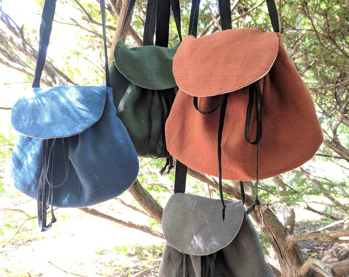 Renaissance Purse, Medieval Linen Bag, Cross Body - Choose Your Color