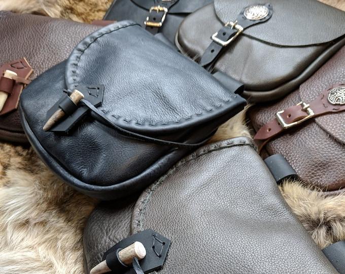 Medieval Leather Bags, Festival LARP Belt Pouches - Woodsman & Merchant Style - /F/ (AB)
