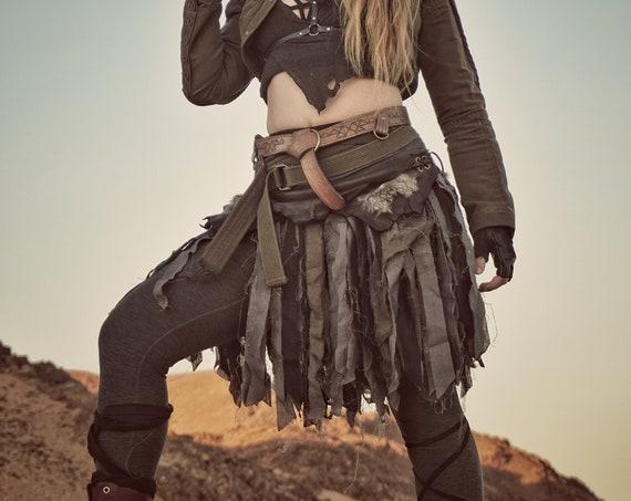 Battle Skirts Leather & Linen Wrap Skirt, Festival Burning Man Larp Custom - /P/ (AB)