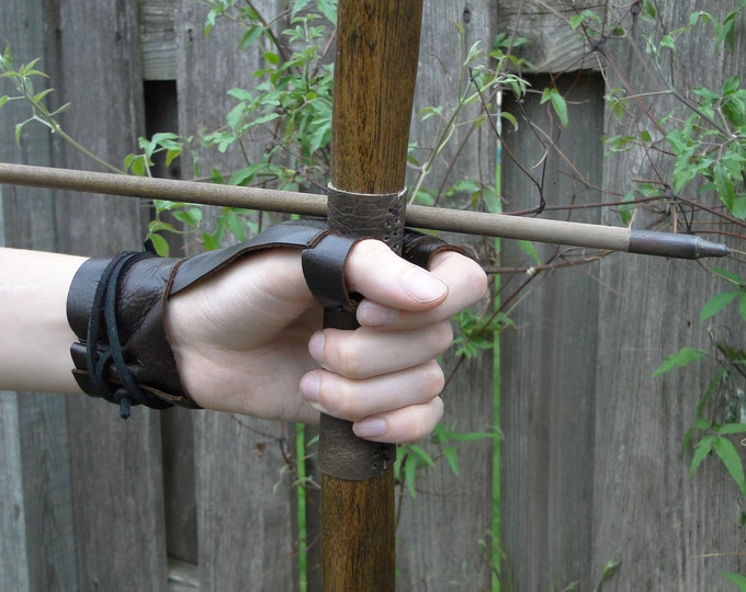 Archery Bow Glove, Shooting Off Hand Glove - Renaissance Medieval Ranger Rustic - Choose Your Size & Color - /F/ (AB)
